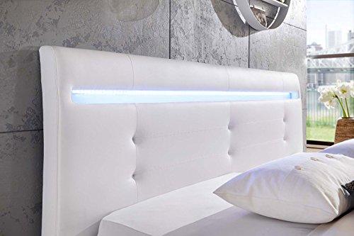 SAM Rundbett Bastia, 180 x 200 cm, Polsterbett in Weiß Lederoptik, Kopfteil abgesteppt, mit LED-Beleuchtung und Chromfüßen