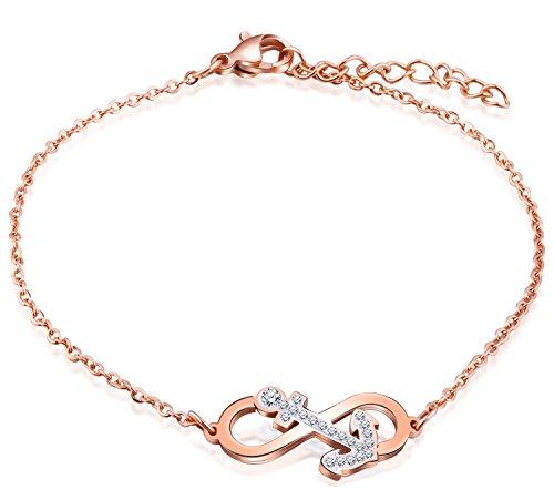 Feilok Elegant Unendlichkeit Infinity Zeichen Anker Damen Armband Edelstahl Kristall Armkette Verstellbar Charm Armkettchen Armreif, Rose Gold