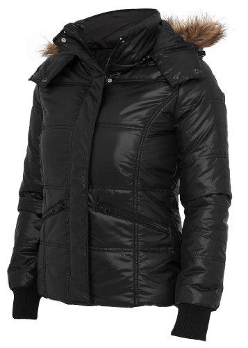 Urban Classics Ladies Shiny Hooded Fur Jacket, black, Grš§e L