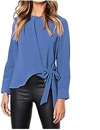 ad790b00dc64e JIANGfu Femme T-Shirt Chemisier à Manches Longues Femmes Mode  Occasionnelles Noeud Papillon Irrégulière Cravate