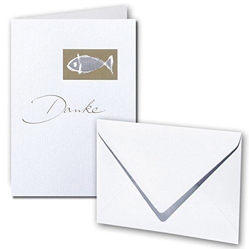 Artoz Karten-Set für Kommunion / Konfirmation / Firmung | Set für 6 Karten | Faltkarten & Umschläge | glänzer Fisch gold-metallic mit geprägtem Schriftzug