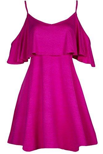 Oops Outlet Damen Schößchen Rüsche Rüsche Riemchen kalt ausgeschnitten Schulter Swing Minikleid - Kirschrot, M/L (UK 12/14) (Ausgeschnitten Schößchen-kleid)