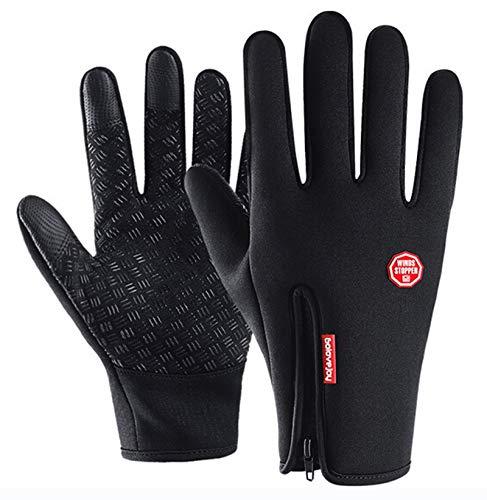 Epinki Wasserdicht Handschuhe Outdoor Reithandschuhe Handschuhe Winter Touchscreen Funktion Zipper Warm Größe Groß Handschuhe Schwarz