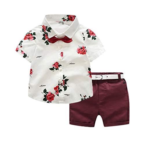 UFODB Babykleidung Jungen Sets Boy Hemd Mit Krawatte + Shorts Sommer Kinder Kleidung T-Shirt Und Hosen AnzüGe Outfits Set
