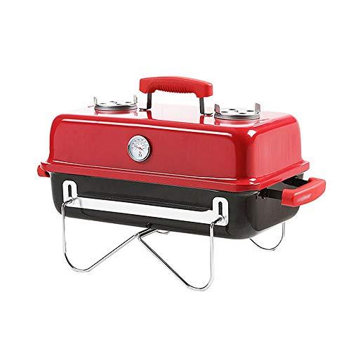Barbecue grill 3-5 Personnes utilisent Grille Rack extérieur Portable Style Japonais Pliant étagère Barbecue à Charbon Mini ménage GW (Couleur : Rouge)