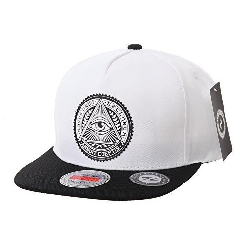WITHMOONS Baseballmütze Mützen Caps Snapback Hat Illuminati Patch Hip Hop Baseball Cap AL2344 (White)