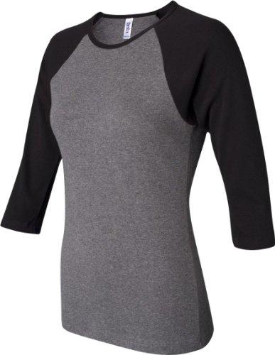Bella :  Rib 11 3/4–manches Raglan T-Shirt 2000 Deep Heather/Black