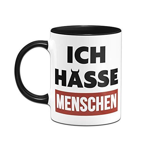 Tassenbrennerei Tasse mit Spruch Ich Hasse Menschen - Bürotasse, lustige Tasse fürs Büro Tassen mit Sprüchen lustig (Schwarz/Rot) - 2