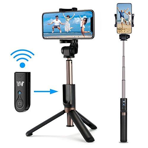 Romanda Selfie Stick, Selfiestick Stativ Bluetooth Wireless Mini Selfie Stange Stab mit Abnehmbarer Bluetooth Fernbedienung 3 in 1 360° Rotation für iPhone X/8/7/6, Samsung,Android Smartphones