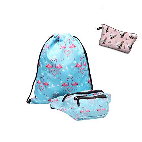 Giddah Cute Mode Kawaii 3D Einhorn Muster Mädchen Beutel Rucksack Mit Taille Taschen GestreiftenFrauen Gürteltasche für Tavelling (Flamingos mit Emoji woof)