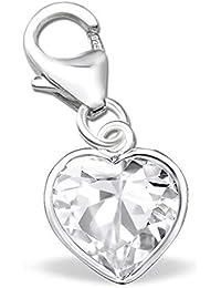 Charm Anhänger Herz Lila Rosa für Armbänder Karabiner Kristall Zirkonia  925er 925 Echt Silber Mädchen Damen 93fa265339