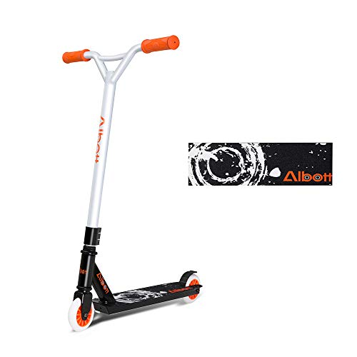 Albott Stunt Scooter Sport Pro Roller Kickscooter Orange Weiß Design für Kinder Erwachsene und Anfänger ab 8 Jahre