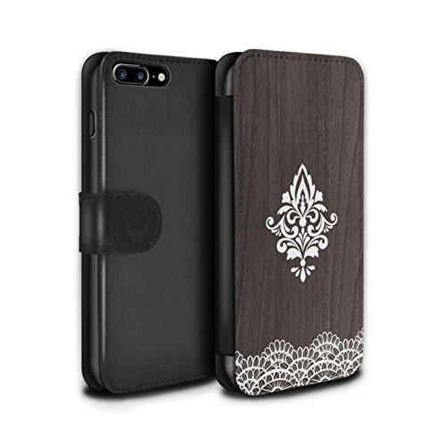 STUFF4 PU-Leder Hülle/Case/Tasche/Cover für Apple iPhone 7 Plus / Fein Rand Muster / Fein Spitzenborte Holz Kollektion Zart Damast
