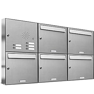 AL Briefkastensysteme 5er Briefkastenanlage mit Klingel, V2A Edelstahl, Premium Briefkasten DIN A4, 5 Fach Postkasten modern Aufputz