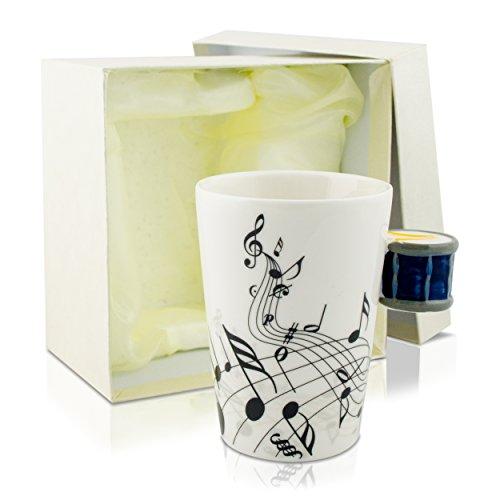 Keramiktasse mit Motiv Henkel - Weiß & Bedruckt 'Trommel' Design 0,2l - Tee & Kaffee Tasse zum...