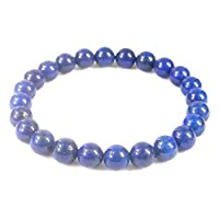 DHYANARSH 100% Original Certified Natural Lapis Lazuli 8mm Gorgeous Semi-Precious Gemstones Beaded Bracelet Unisex