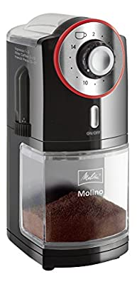 Melitta Molino Coffee Grinder, 1019-01, Electric Coffee Grinder, Flat Grinding Disc, Black/Red
