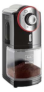 Melitta Moulin à Café Électrique, Molino, Meule Plate, Noir/Rouge, 1019-01