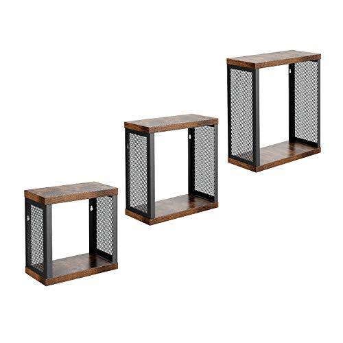 VASAGLE Wandregal, 3er Set, im Industrie-Design, Würfel-Regal, Cubes, Vintage Schweberegal für Bilder, Deko, für Wohnzimmer, Büro, Flur, Küche, Eingangsbereich, Vintage LWS03BX