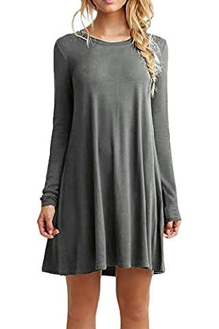 YMING Damen Kleid für Frühling Herbst Casual Blusenkeid Lose Langarm Tunika Plus Größe,Grau,3XL (Brown Kleid Jeans)