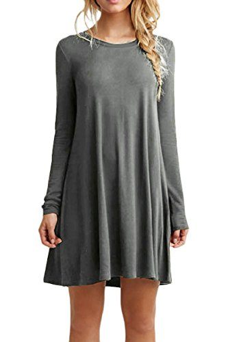 YMING Femme Robe Printemps Automne Col Rond Manches Longues Robe Chemise Grande Taille,Gris,XXXL