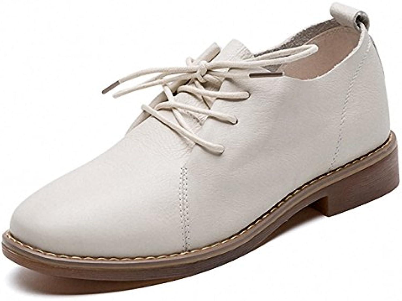 YAZX Chaussures en Femmes Cuir Oxford Femmes en Printemps été réel Chaussures à Lacets en Cuir Chaussures Plates Talon incliné... 3160a6