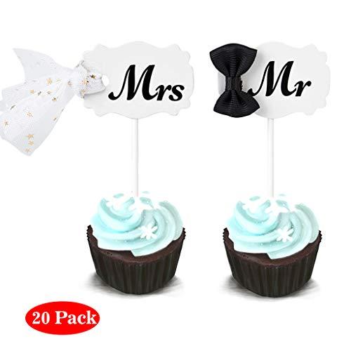 Amycute 20 Personalisierte Kuchendeckel Hochzeit Kuchen Topper, Mr & Mrs Tortenstecker,Hochzeits-Deko,Kuchen-Deko, Hochzeits-Torte,Hochzeits-Geschenk (Hochzeit Essbare Toppers Cupcake)