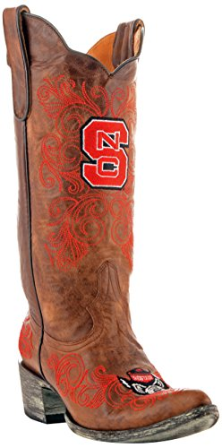 NCAA North Carolina State Wolfpack Damen Gameday Stiefel 33 cm, Damen, NCS-L052, Messing, 7 B (M) US - Distressed Braun Cowboy Stiefel