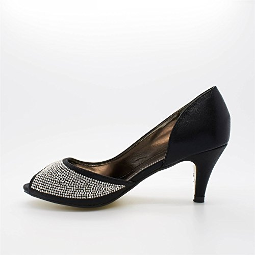 London Footwear ,  Damen Peep Toes Schwarz