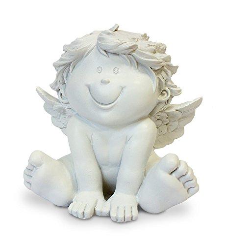 TEMPELWELT Deko Engel Figur Schutzengel Sitzend 12 cm, Polystein Weiß, Dekofigur Babyengel Engelkind Engelchen Rubensengel Engelfigur Dekoengel Lachend
