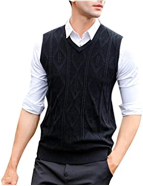Zhhlinyuan alta calidad Mens Men's Middle-aged V-neck Solid Color Business Winter Sleeveless Wool Pullover Knitted...
