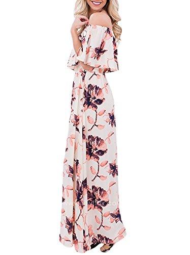 Touchie Damen Sommerkleider Lang Chiffon Blumen Kleider Schulterfreies Maxikleider Strandkleider Boho Beach Kleid Rosa