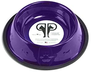 Platinum Pets 24oz Electric Purple Stainless Steel Embossed No-tip Dog Bowl from Platinum Pets, Inc