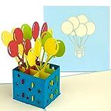 PaperCrush Pop-Up 3D Geburtstagskarte (Blau) - Perfekt als Geldgeschenk, Geldgeschenkkarte, Popup Karte zum Geburtstag - Handgemachte 3D Karte inkl. Umschlag