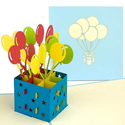 PaperCrush® Pop-Up 3D Geburtstagskarte (Blau) - Perfekt als Geldgeschenk, Geldgeschenkkarte, Popup Karte zum Geburtstag - Handgemachte 3D Karte inkl. Umschlag