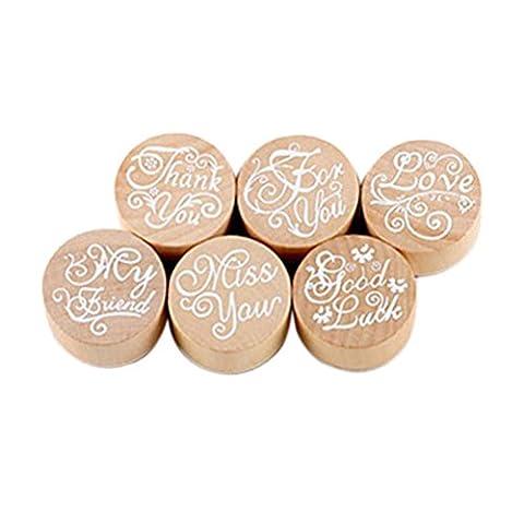 Pixnor Lot de 6Tampon en caoutchouc en bois Set d'écriture Motif floral DIY Craft Tampon (couleur bois)