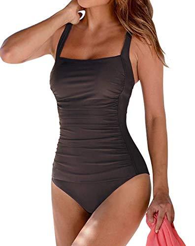 Leslady Mujer Color sólido Traje baño Bandeau Monokini