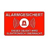 5 Stück XL Alarm-Aufkleber iSecur | alarm-gesichert | 16,7 x 10 cm | hin_077_außen | Hinweis auf Alarmanlage oder Alarmsystem/Videoüberwachung | Gewerbe | Haus | Halle | Baumaschine | LKW