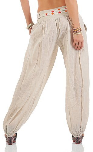 ZARMEXX Haremshose Pumphose mit Gürtel Pluderhose Uni-Farben Ballonhose Aladinhose Harem Hose Sommerhose Yoga One-Size Beige-Hell