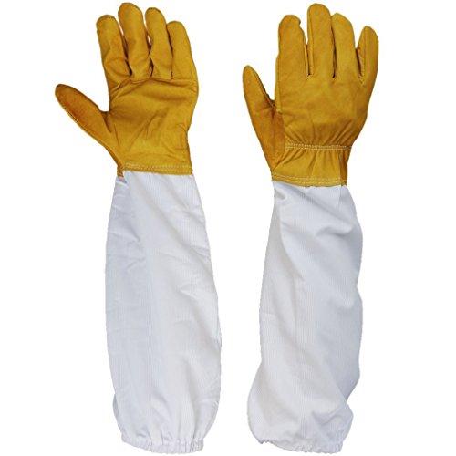 Ulable 1 paire de gants de protection Apiculture ventilé manches longues 11 cm Largeur -- Jaune