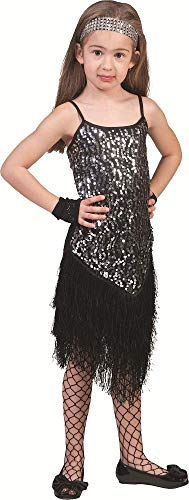 Pailletten Flapper Schwarz Kostüm Kind - Charleston Kostüm Marlene für Kinder - Schwarz Gr. 140 - Zauberhaftes Fransenkleid mit Pailletten im 20er Jahre Stil