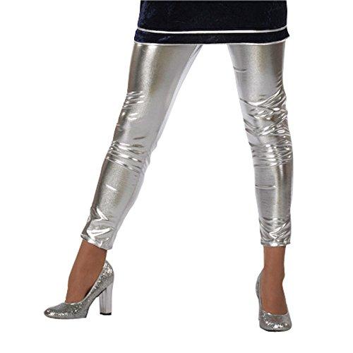 Damen-Leggings Folie, silber, Gr. 38 (Futuristische Kostüme Outfit)