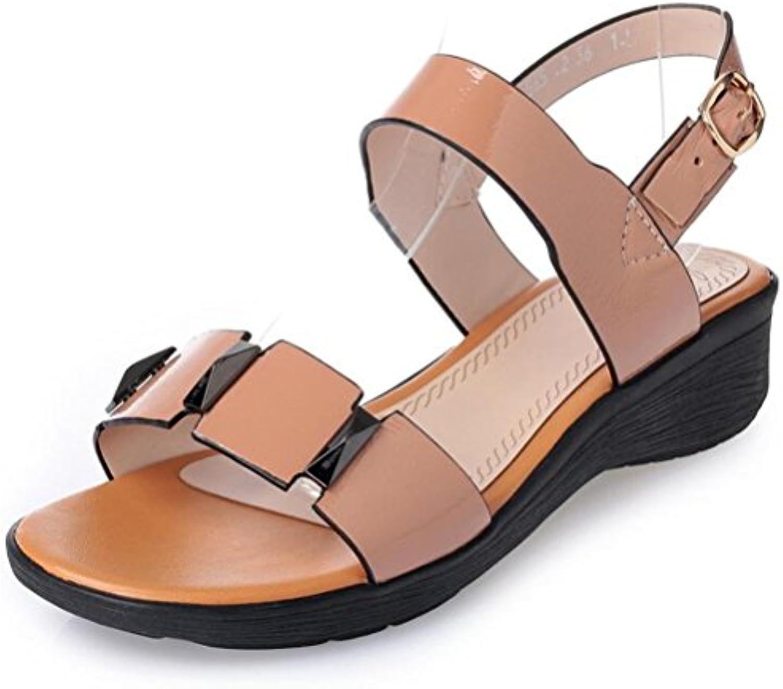 Sandalias de Mujer Tacones Boca de Pescado de Gran Tamaño de la Plataforma Impermeable Grueso con Hebilla Cruzada -