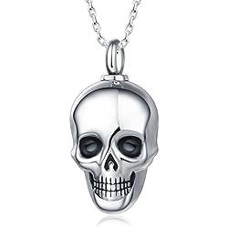 Quiges Memorial Urna de acero inoxidable con cadena ajustable de 46 a 52 cm