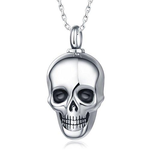 Quiges Memorial Urna de Cremación Colgante Calavera con Collar...