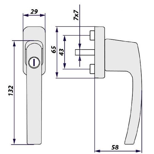 TecTake® 8 Fenstergriffe abschließbar Sicherheitsfenstergriff inklusive 2 Schlüssel pro Griff weiss - 4
