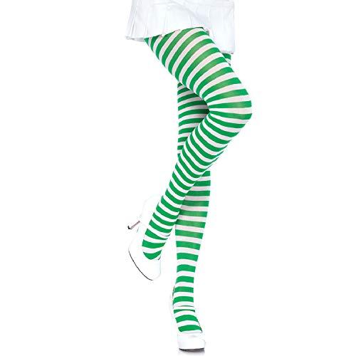 ickdichte Ringel-Strümpfhose Kostüm Damen Karneval, Einheitsgröße, weiß/kelly grün ()