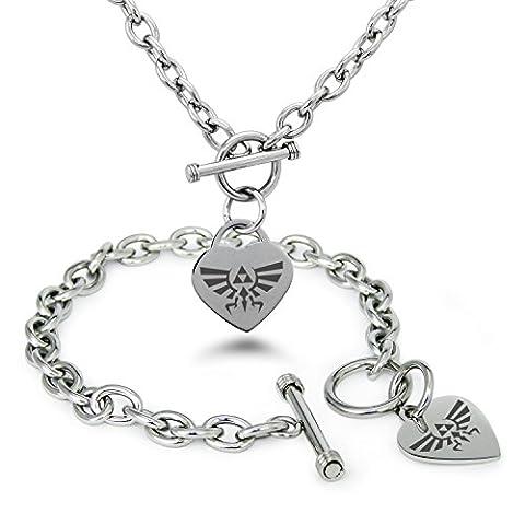 Stainless Steel Legend of Zelda Logo Heart Charm, Bracelet &