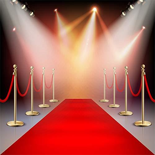 YongFoto 3x3m Vinyl Bühne Foto Hintergrund Rot Teppich Glänzende Lichter Scheinwerfer zum Hollywood Oscar Verleihung zum Party Veranstaltung Fotografie Video Hintergrund Studio Requisiten Tapete