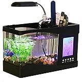 Anself Mini USB LCD escritorio Lámpara luz peces tanque acuario LED reloj blanco con 6 modos de sonidos de la naturaleza tranquila, adornos de la pecera. , black